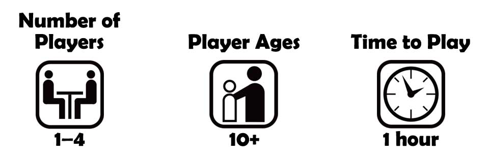 2-4 players, Ages 10+ Game time 1 hour