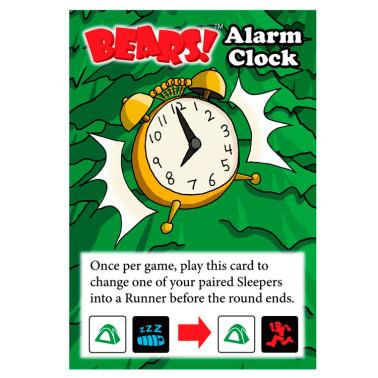alarm clock promo card for bears dice game