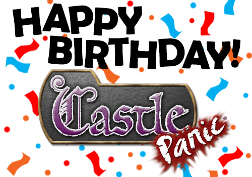 Happy Birthday to Castle Panic with confetti and ribbons