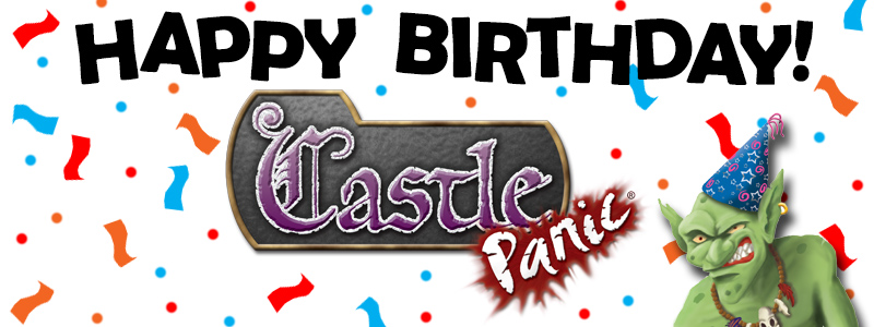 Happy birthday banner for Castle Panic with goblin and confetti