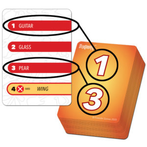 Stringamajig card with back numbers highlighted to show choices