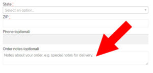 Arrow showing Order Notes section