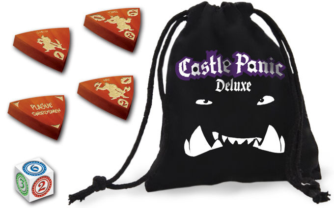 Castle Panic Deluxe black monster bag, wooden tokens, and custom die