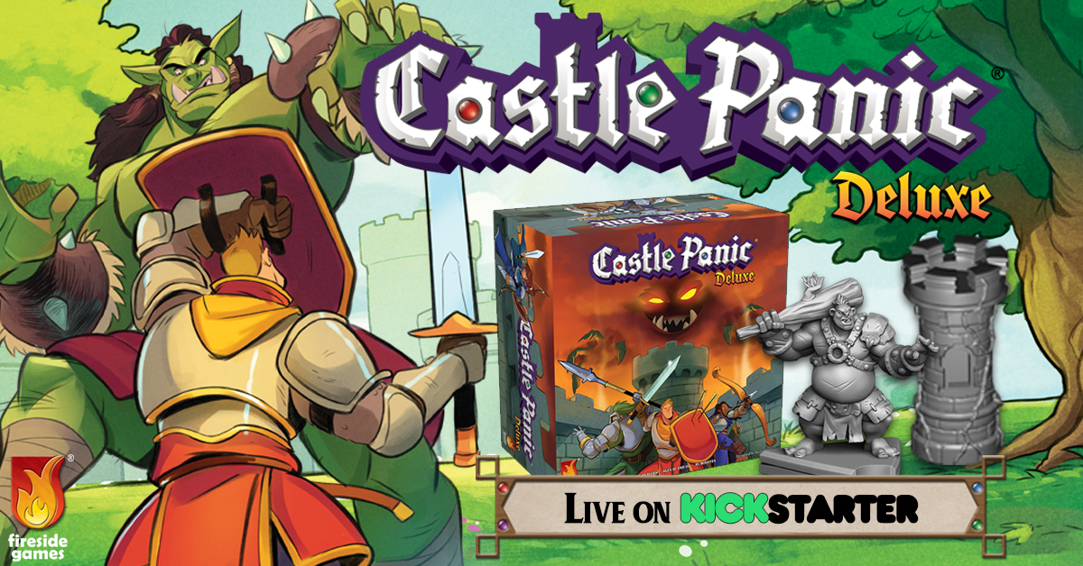 Castle Panic Deluxe Live on Kickstarter sign with a Swordsman battling an Orc